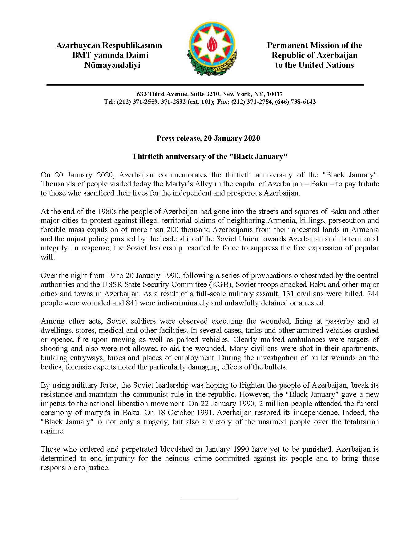 Press release Black January 20.01.20